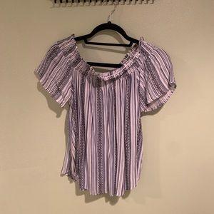 Tillys off the shoulder cute patterned shirt